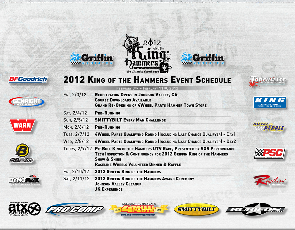 2012 king of the hammers event schedule